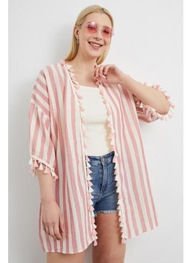 Curly Pembe Çizgili Kimono Pembe